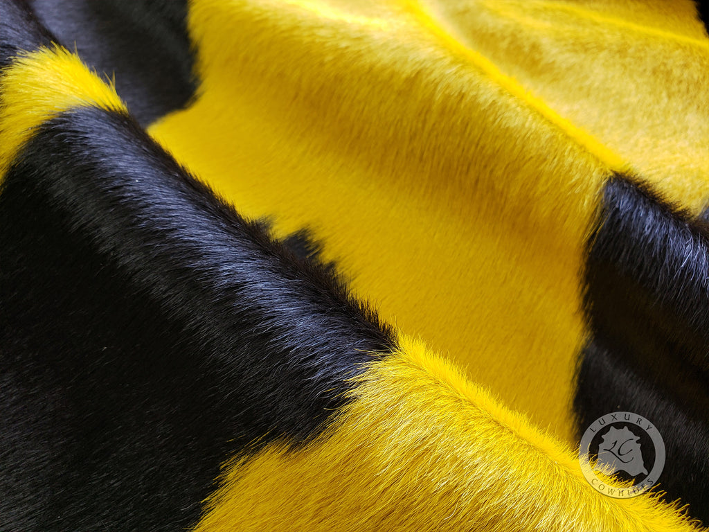 Dyed Yellow and Black Cowhide Rug