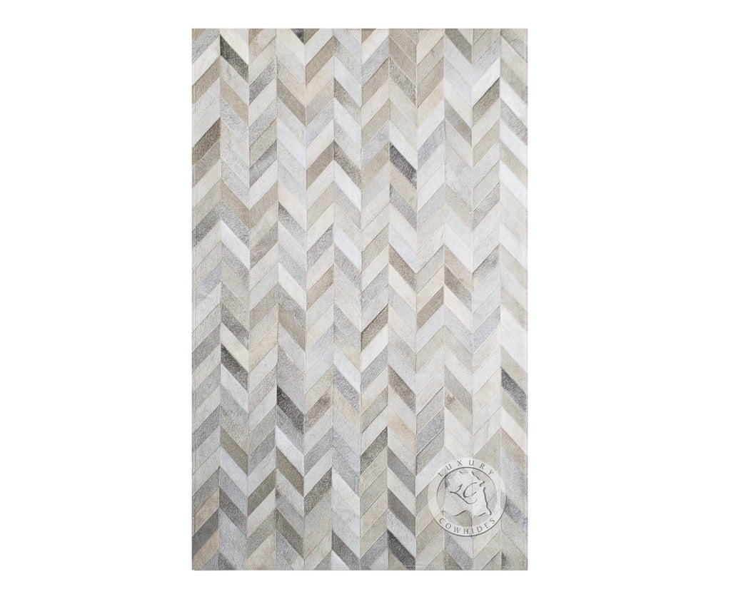 Patchwork Cowhide Rug Chevron Design Grey