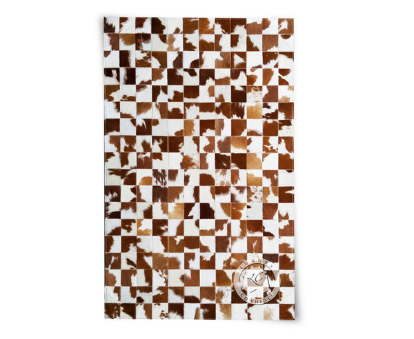 Patchwork Cowhide Rug Brown and White