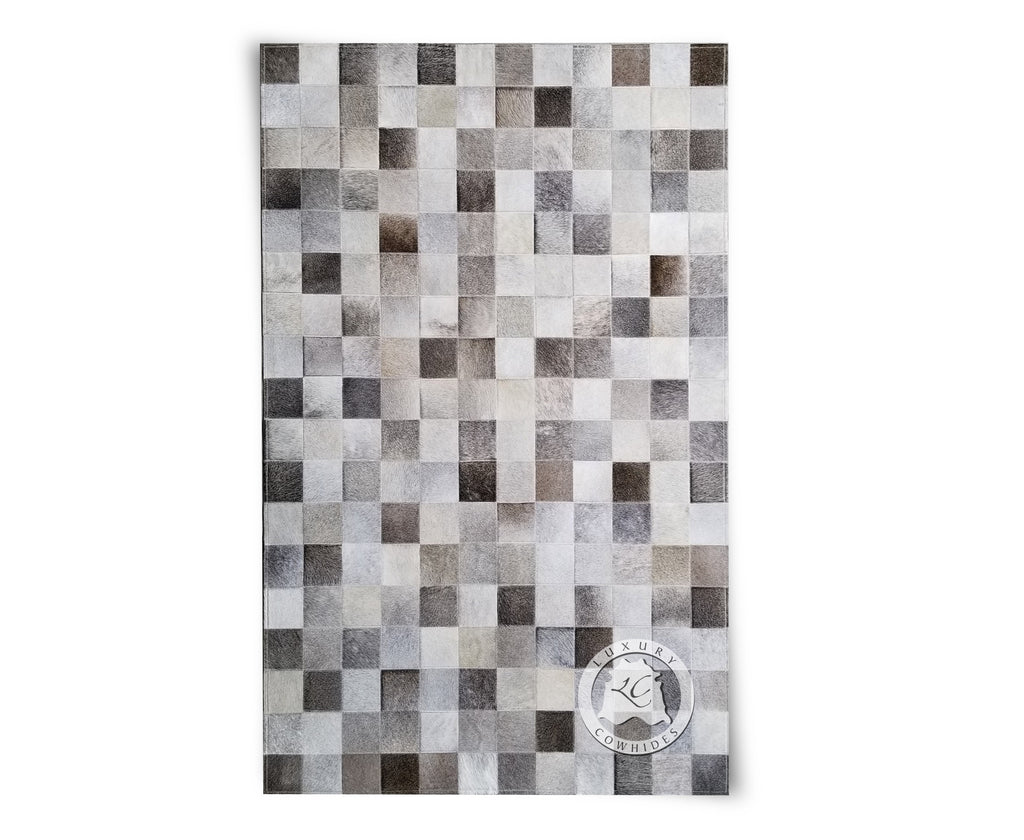 Patchwork Cowhide Rug Natural Grey - Luxury Cowhides