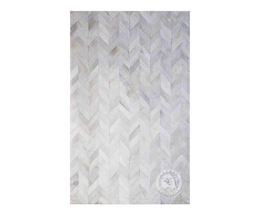 Patchwork Cowhide Rug Chevron Design Off White
