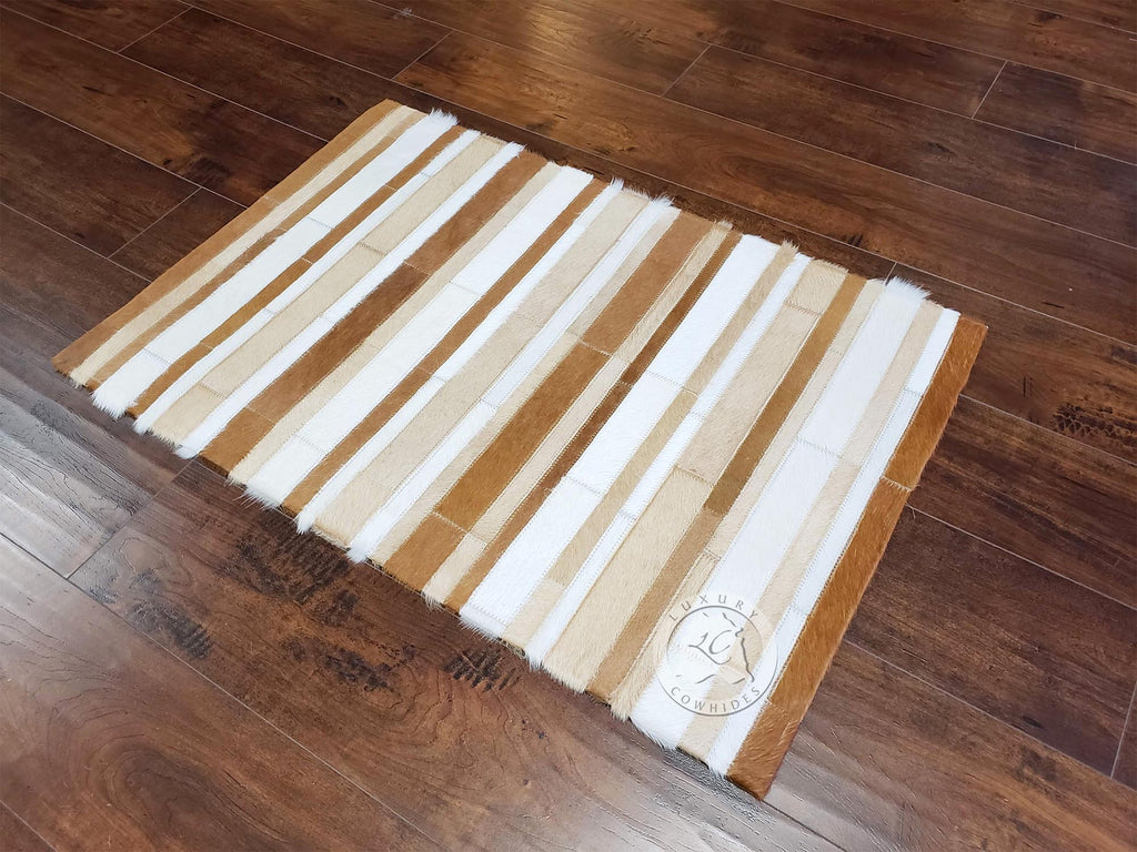 STRIPES FLOOR MAT COWHIDE DESIGNER RUG Brown/Palomino/White 24x35""