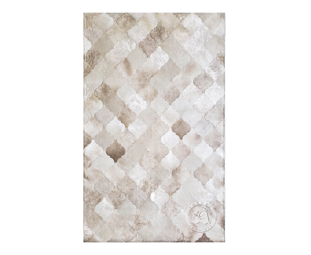 TERNI COWHIDE DESIGNER RUG, TAUPE CHAMPAGNE MIX