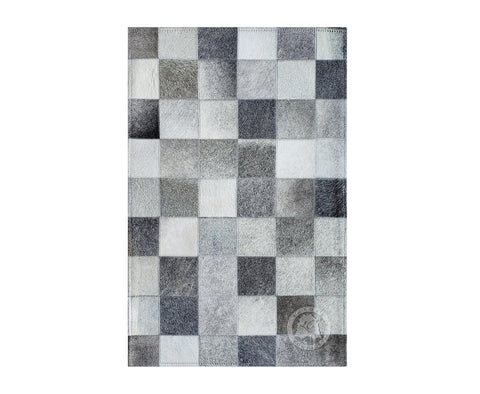 "Bedside Patchwork Cowhide Rug Grayish Tones (22"" x 34"" Inches)"