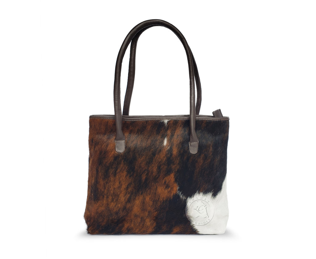 COWHIDE HAND BAGS Leather, TRICOLOR
