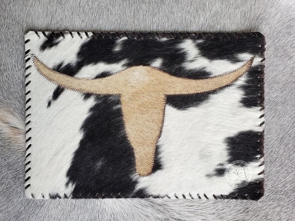 "Cowhide Placemat LongHorn 14x17"" - Set of 2, 4 or 6 Units"