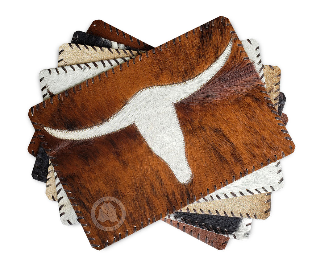 "Cowhide Placemat Long Horn 14x17"" - Set of 2, 4 or 6 Units"