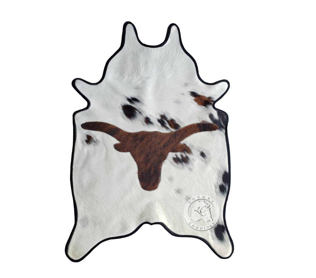 Longhorn MINI Cowhide Rug 24'x35' Leather Binded