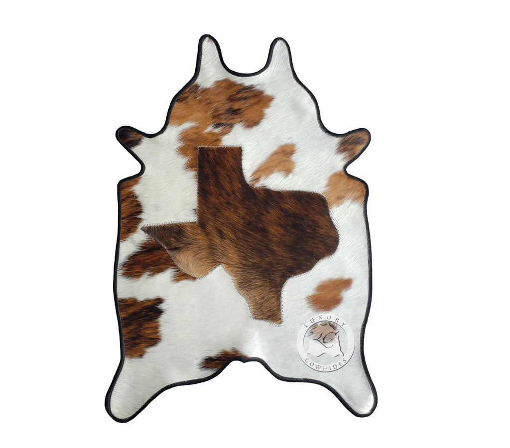 Texas Map MINI Cowhide Rug 24'x35' Leather Binded