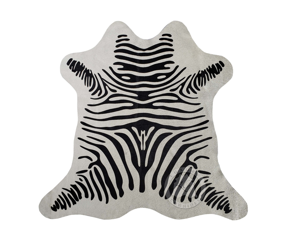 "Zebra Print Mini Cowhide Rug On Off White, Approx. 25"" x 26"""