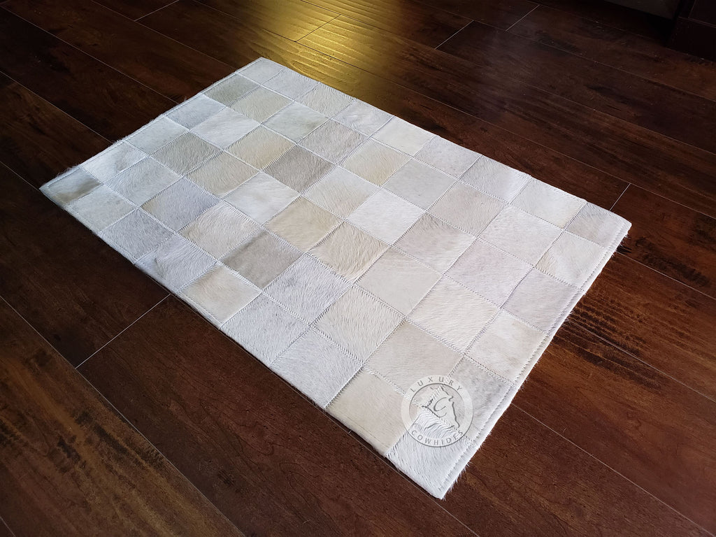 Patchwork Cowhide Rug Bedside Off White 22x34""