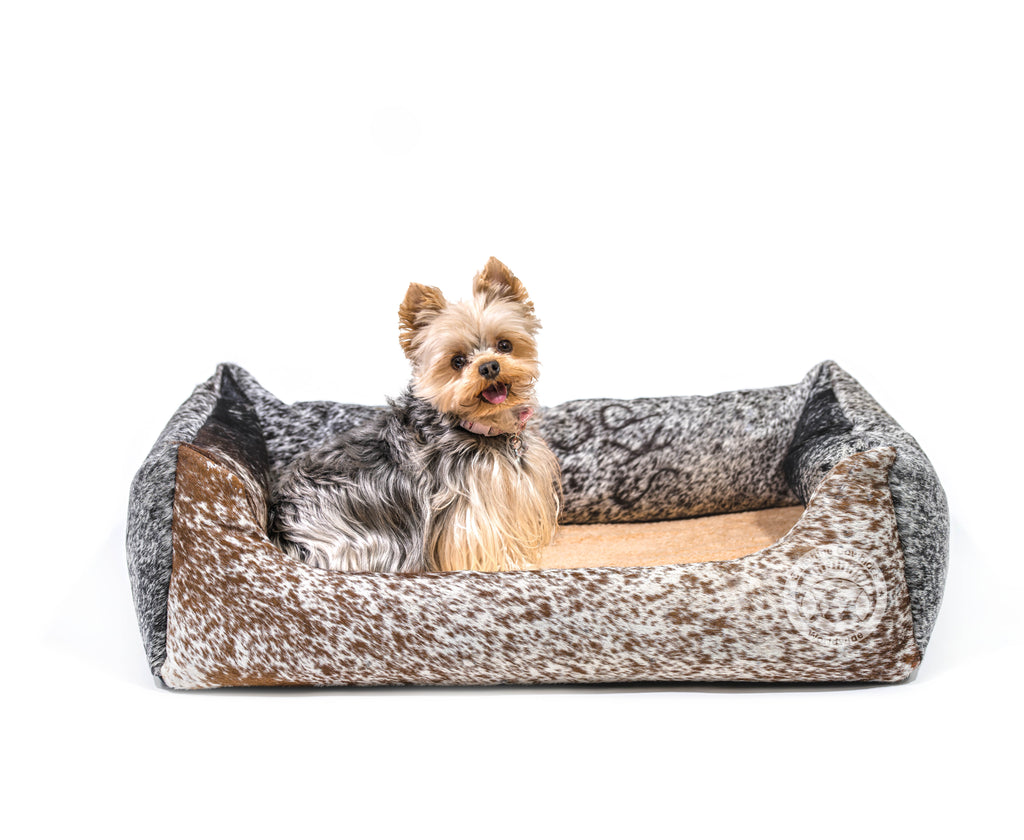Salt & Pepper Cowhide Pet Bed, 22X29X8""