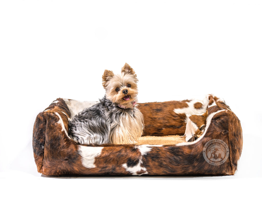 Tricolor Cowhide Pet Bed, 22X29X8""