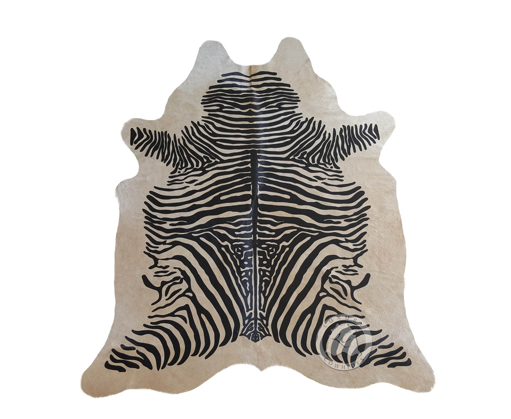 Zebra Black Stripes on Beige Cowhide Rug