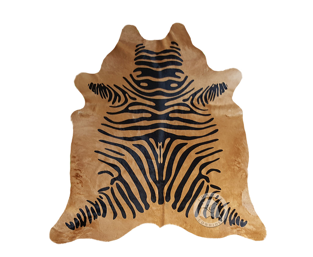 Zebra Black Stripes on Caramel Cowhide Rug