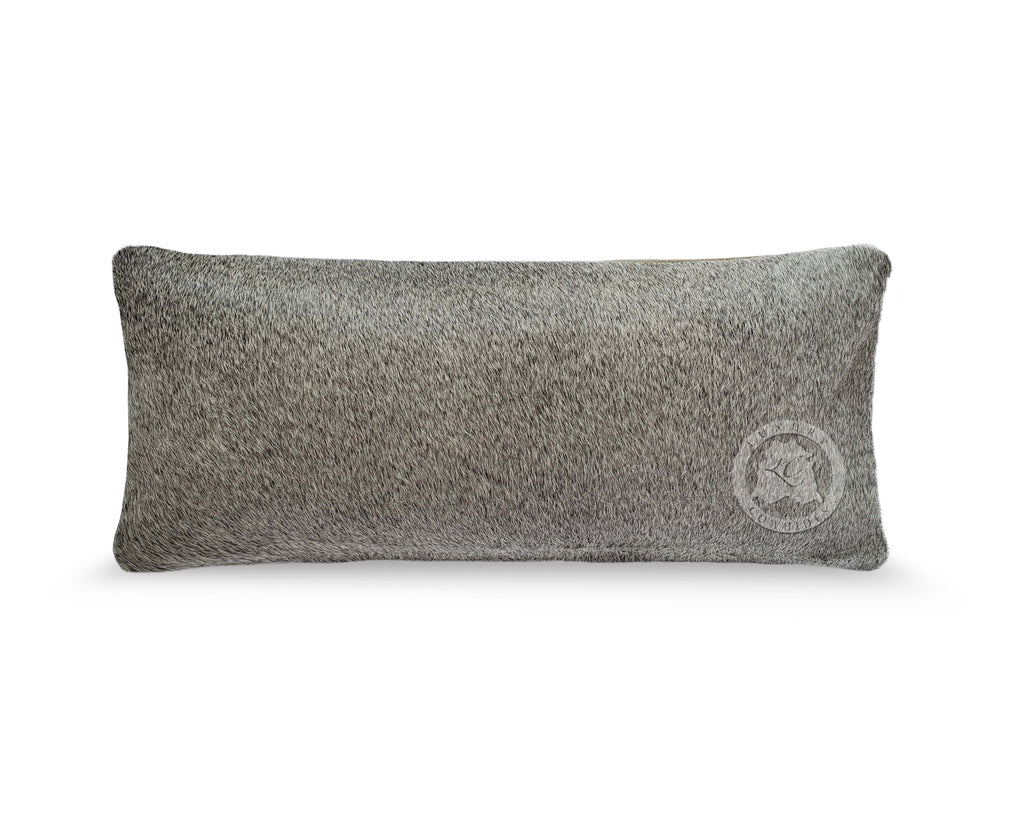 "Greyish Cowhide Pillow Cover, 7"" x 15"""