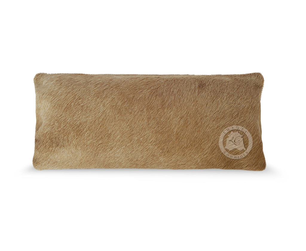 "Solid Beige Cowhide Pillow Cover, 7"" x 15"""