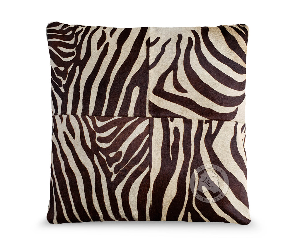 "Zebra Brown Stripes on Beige Cowhide Pillow Cover 31""x31"""