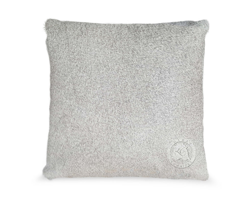 Solid Grey Cowhide Pillow Cover
