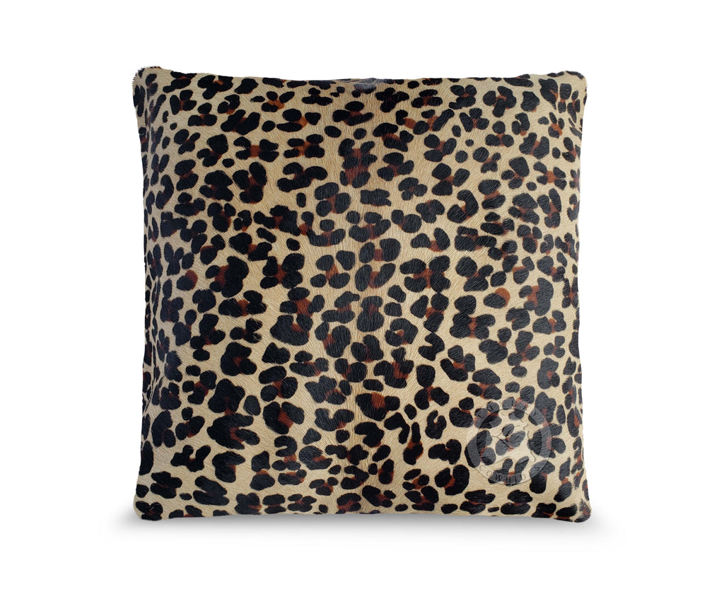 "Jaguar on Light Beige Cowhide Pillow Cover, 15"" x 15"""