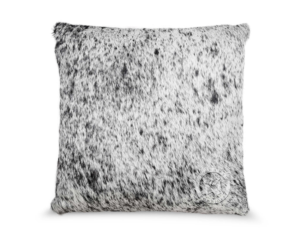 Salt and Pepper Black Cowhide Pillow Cover