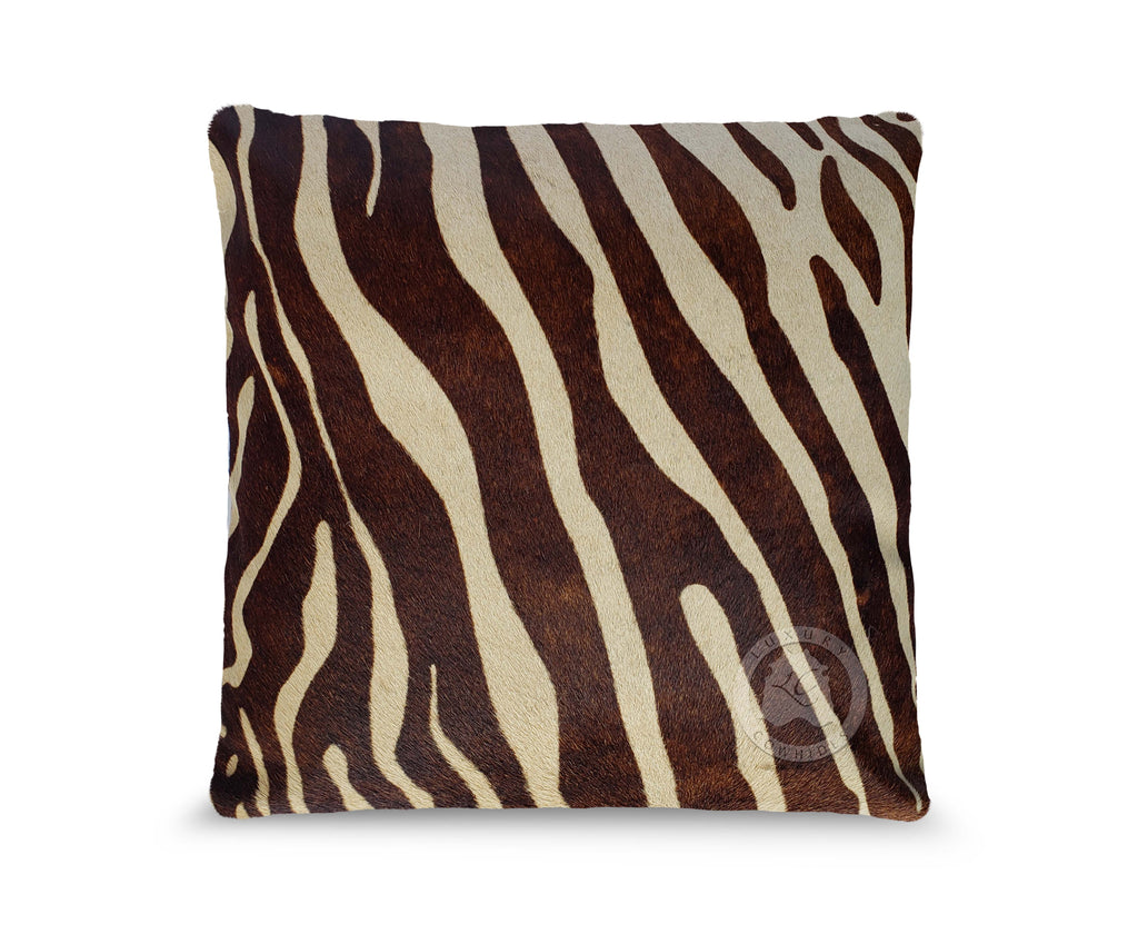 "Zebra Brown Stripes on Light Beige Cowhide cover Pillow, 15"" x 15"