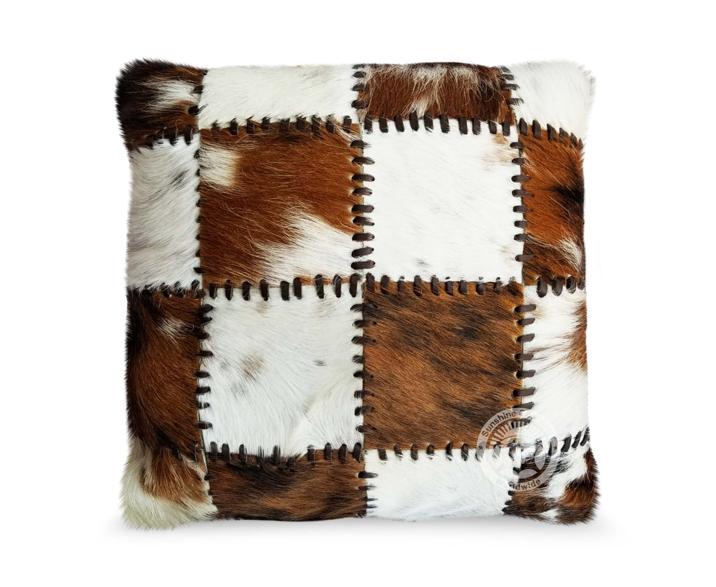 Laced Tricolor Cowhide Pillow Cover