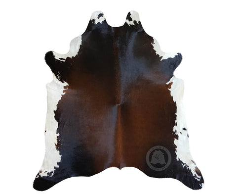Black & White Reddish Cowhide Rug