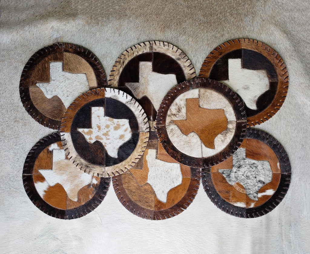 "Round Cowhide Placemat - Texas Map- 12"" or 16 Diameter"" - Set of 2, 4 or 6 Units"