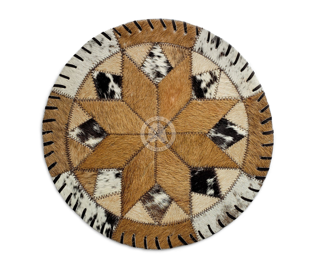 "Round Cowhide PlacematS - Diamond Flower - 12"" or 16 Diameter"" - Set of 2,4 or 6 Units"
