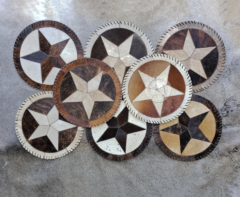 "Round Cowhide PlacematS - Star - 12"" or 16 Diameter"" - Set of 2,4 or 6 Units"