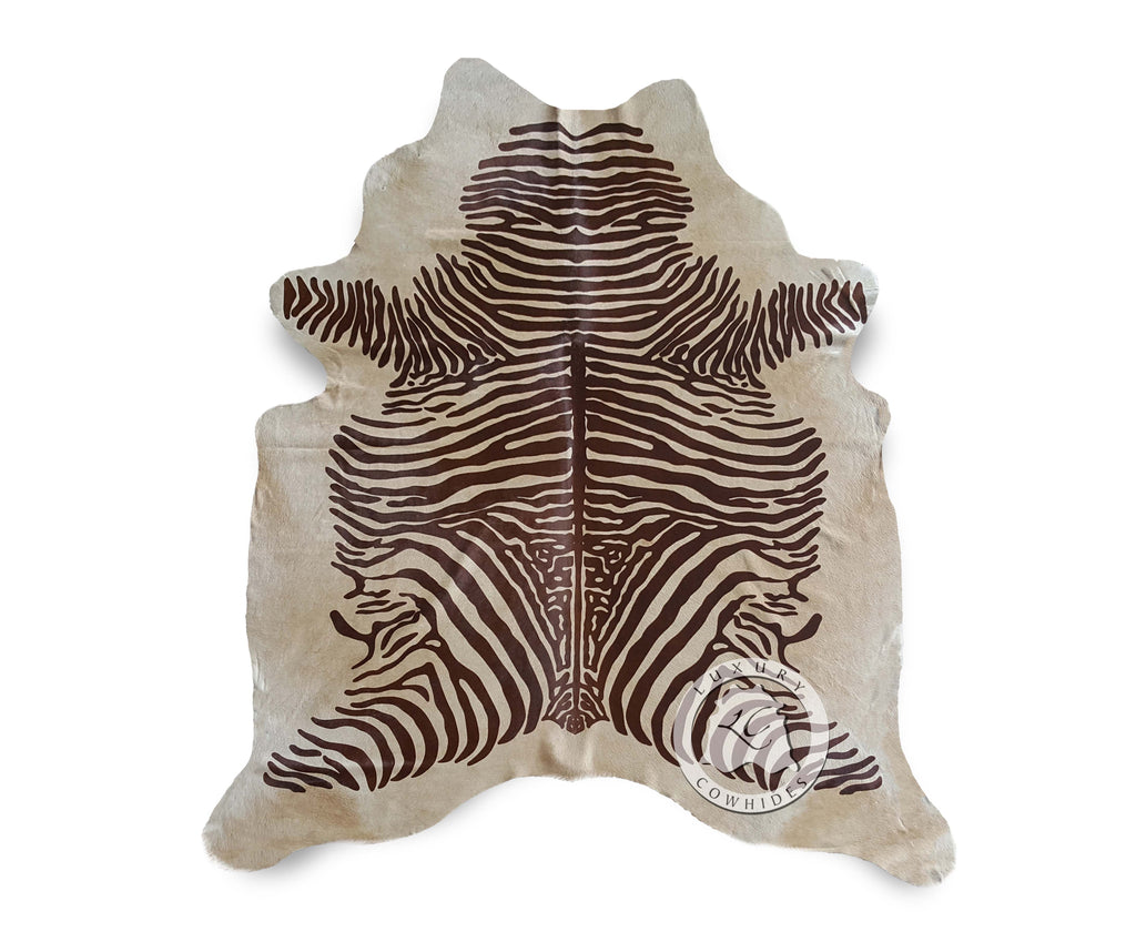 Zebra Brown Stripes on Beige Cowhide Rug - Luxury Cowhides