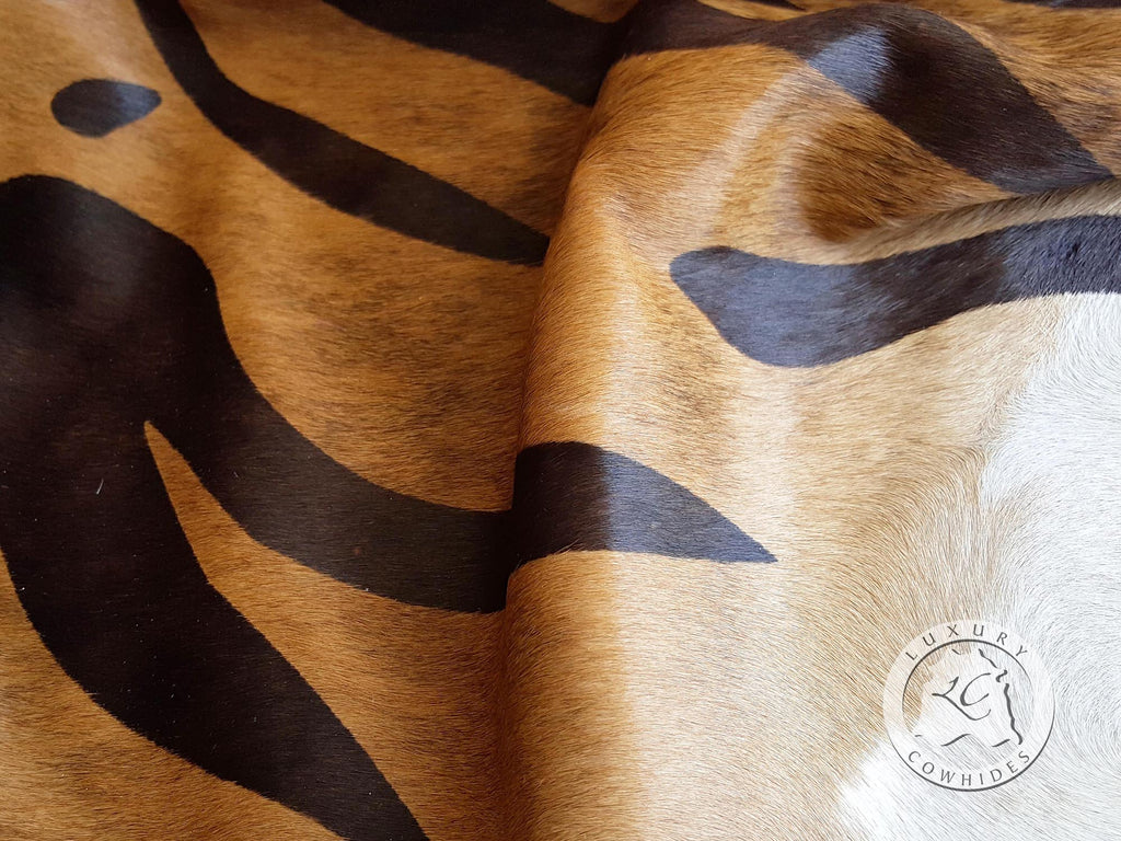 Tiger on Caramel Cowhide Rug