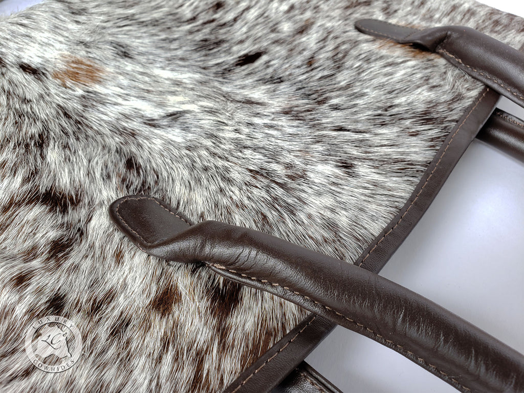 COWHIDE HAND BAGS Leather, SALT & PEPPER