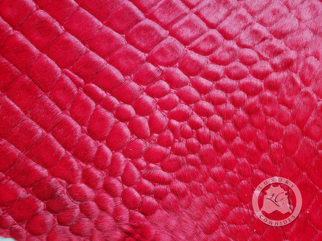 Crocco Dyed RED Cowhide Rug