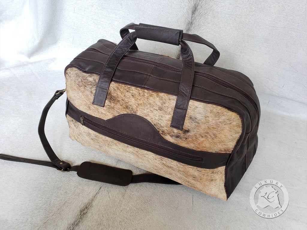 COWHIDE DUFFLE BAG LEATHER, BRINDLE