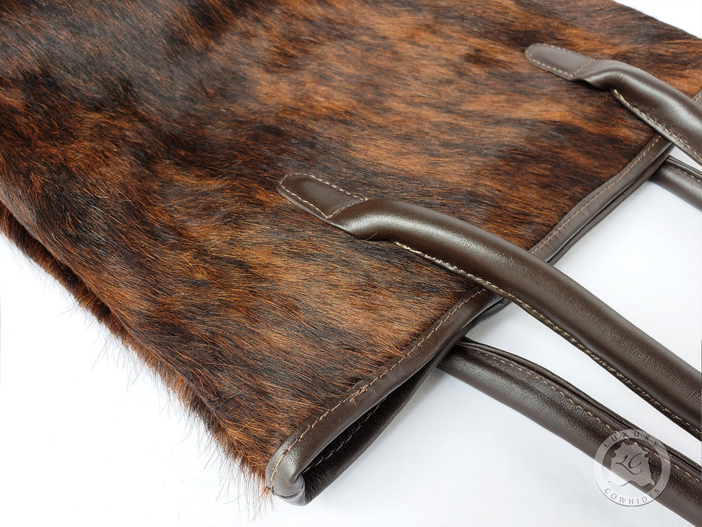 COWHIDE HAND BAGS Leather, BRINDLE