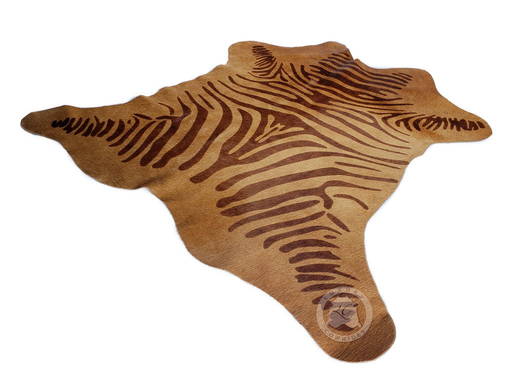 "Zebra Print Mini Cowhide Rug On Caramel, Approx. 25"" x 26"""