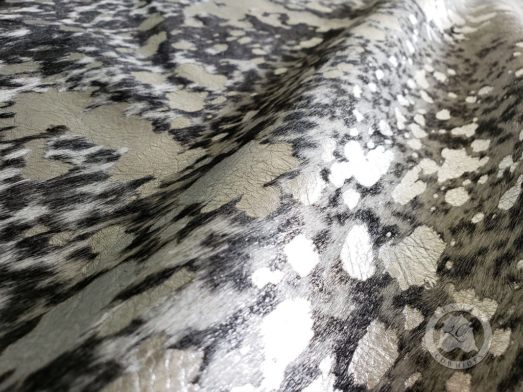 Metallic Silver on SALT and PEPPER Black Cowhide, Approx Size 6'x 7.5' FT