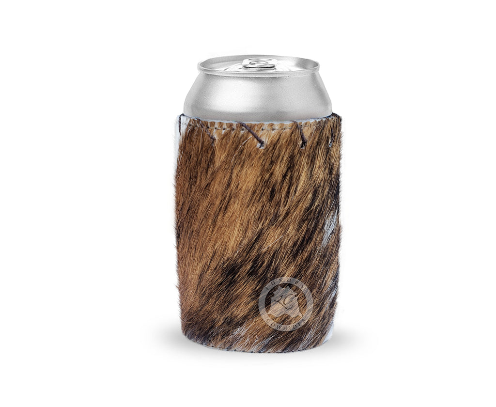 Set of 4 Cowhide Koozies - Can Holders - Beer Can Holder - Assorted Colors