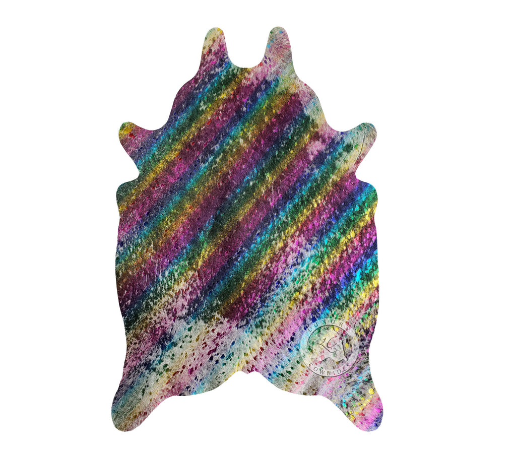 "METALLIC MULTICOLOR RAINBOW Mini Cowhide Rug  24""x35"""