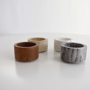 MARBLE & WOOD BOWL SET