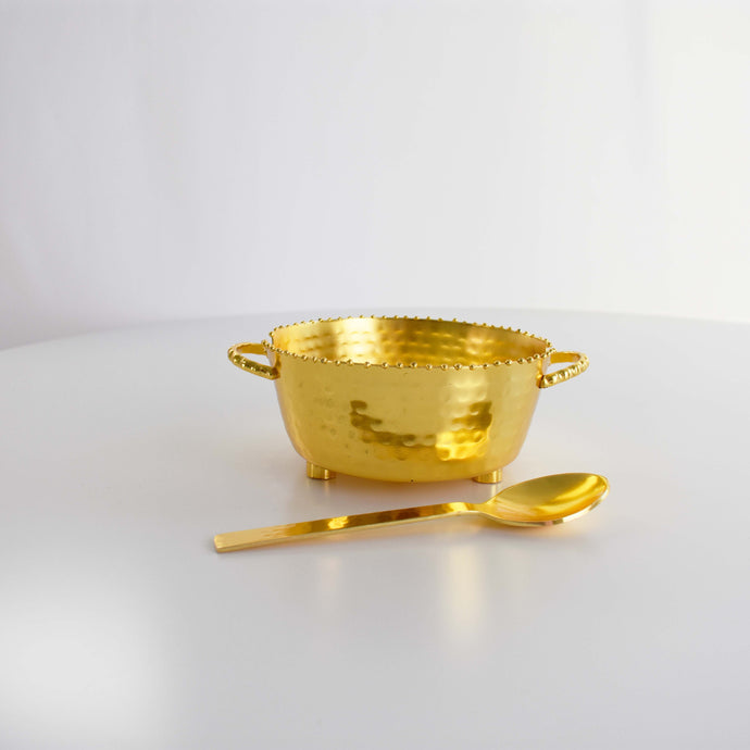 VINTAGE HAMMERED GOLD BOWL WITH SPOON