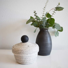 Load image into Gallery viewer, WOVEN BLACK KNOB STORAGE BASKET