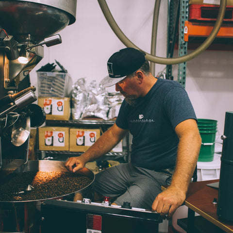 Sean Boyd roasting heavenly coffee
