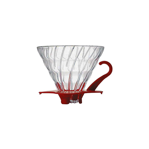 Hario Coffee Dripper-V60 Glass Single Cup Red