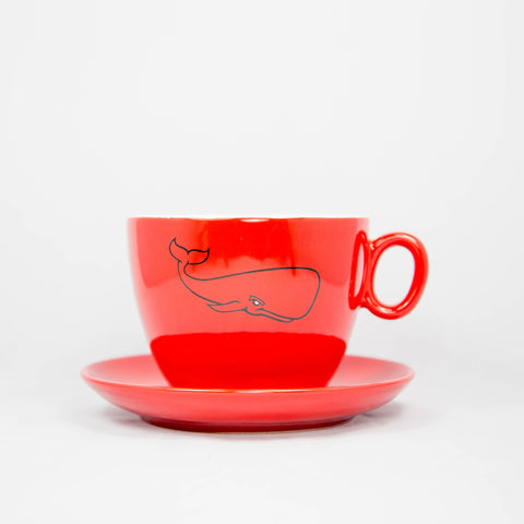 Red Whale Inker Porcelain Latte Bowl 14oz