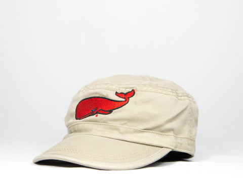 Red Whale Military Style Hat- Khaki