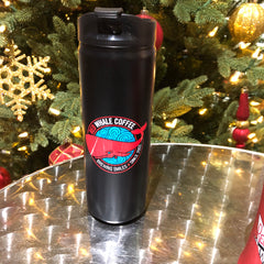 Stainless Steel Travel mug with Red Whale Coffee logo, black 16 oz