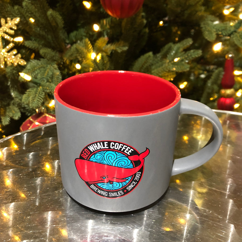 Ceramic mug grey/red 16oz
